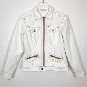 CAbi ivory denim rodeo jean jacket #524 | small